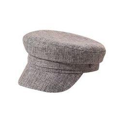 Skycap - Plain Linen Cotton Button Decoration Octagonal Beret