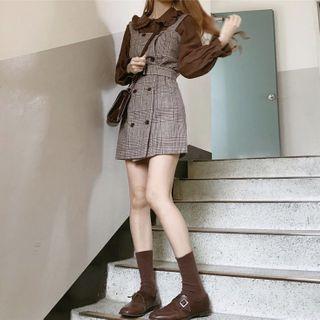 Yunhouse - Ruffle Trim Blouse / Plaid Mini Pinafore Dress