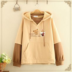 Kawaii Fairyland - Bear Printed Color Block Hoodie