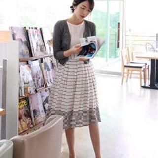 LEELIN - Dot & Stripe A-Line Skirt