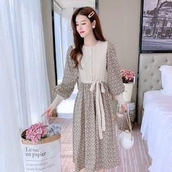 Petit Lace - Long-Sleeve Printed Knit Panel A-Line Dress