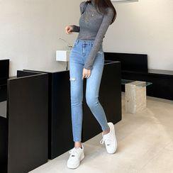 DABAGIRL(ダバガール) - Distressed Skinny Jeans