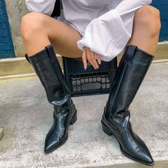 LIPHOP - Stitched Long Cowboy Boots