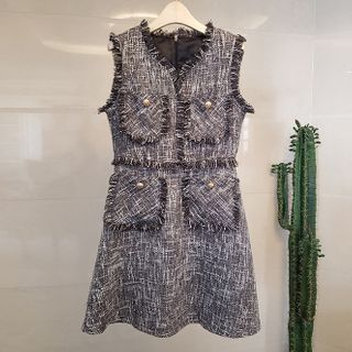 Shanniah - Sleeveless Mini Tweed  A-Line  Dress