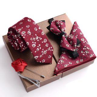 Prodigy - 礼物套装: 碎花领带 + 蝴蝶结领带 + 口袋巾 + 衣领饰针 + 领带夹