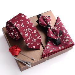 Prodigy(プロディジー) - Gift Set: Floral Print Neck Tie + Bow Tie + Pocket Square + Lapel Pin + Tie Clip