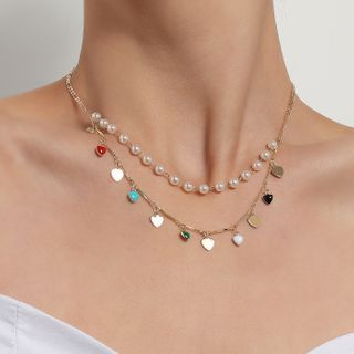 YASIN - Heart Faux Pearl Layered Necklace