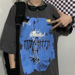 INStudio - Elbow-Sleeve Printed T-Shirt