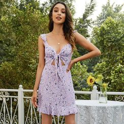 Diamontina - Spaghetti Strap Floral Print Tie-Front Mini A-Line Dress