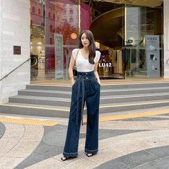 DABAGIRL - High-Waist Tie-Front Wide-Leg Jeans