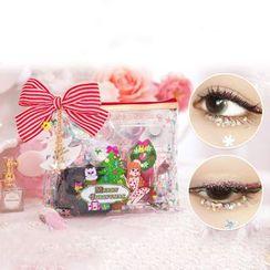 Piggy House - 套裝: 聖誕印花化妝品小袋 + 亮面 + 化妝海綿 + 假眼睫毛 + 假眼睫毛收納盒 + 聖誕印花抽繩袋
