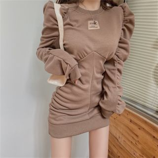 BBChic - Puff-Sleeve Tag Patched Mini Dress