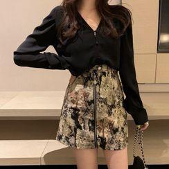 Brooklane - V-Neck Blouse / Cat Print Mini A-Line Skirt