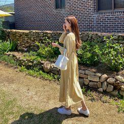 HOTPING - Button-Through Floral Long Dress