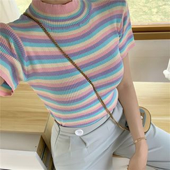 Alfie - Rainbow Striped Mock-Neck Rib-Knit Short-Sleeve T-Shirt