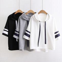 TOJI - 3/4-Sleeve Hooded Contrast Trim Top
