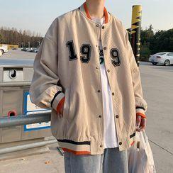 Oakjam - Lettering Corduroy Baseball Jacket