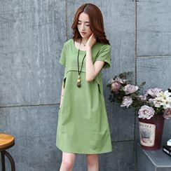 Scentwood - Plain Short-Sleeve Shift Dress