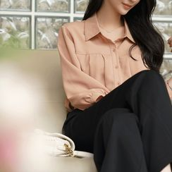 CLICK - 3/4-Sleeve Pleated Blouse