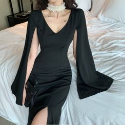 Yvoire - Cape-Sleeve Flared Hem Midi Sheath Dress