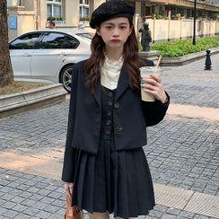 WIKPROM - Long-Sleeve Mock-Neck Lace Top / Single-Breasted Blazer / Spaghetti Strap Pleated Mini A-Line Dress