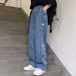 VAVA - Heart Embroidered Straight Leg Jeans