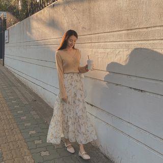 CHERRYKOKO - Tiered Floral Chiffon Maxi Skirt