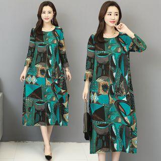RAIN DEER - Print Round-Neck Cropped Sleeve Medium Maxi Dress