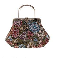 Moonflower - Beaded Linen Handbag
