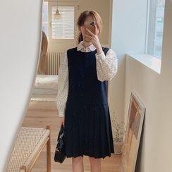 Yunhouse - 长袖印花衬衫 / 打褶裥直筒连衣裙