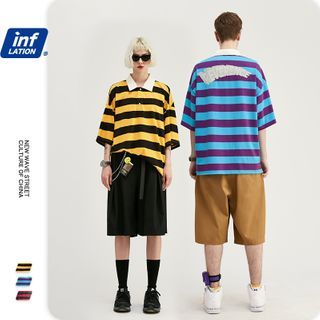 Newin - Unisex Loose-Fit Striped Polo Shirt