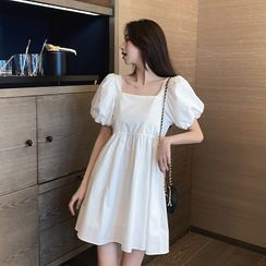 Morning Glory - Square-Neck Puff-Sleeve Mini A-Line Dress