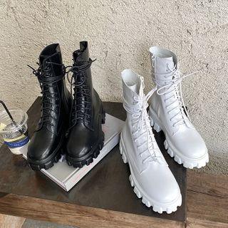 Niuna - Lace Up Platform Short Boots