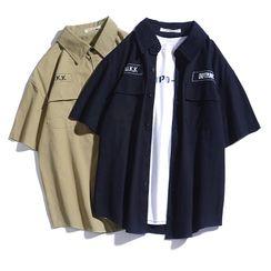 Rampo - 短袖字母刺繡襯衫