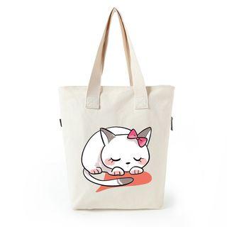 Lozynn - Cat Print Canvas Shopper Bag