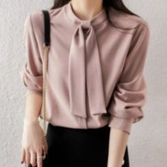 Superduper - Long-Sleeve Tie Neck Blouse