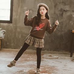 Cuckoo - Kids Set: Printed Sweatshirt + Insert Leggings Mini A-Line Skirt