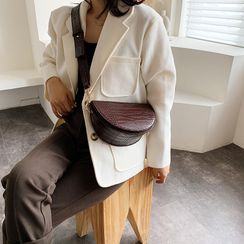 KOCORE - Croc Grain Faux Leather Saddle Crossbody Bag