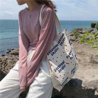 Shinshine - Letter Print Canvas Tote Bag