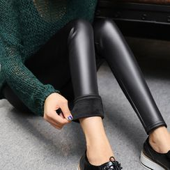 Sugar Power(シュガーパワー) - Faux-Leather Skinny Pants