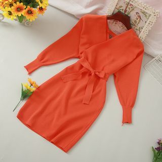 Knutsford - V-Neck Long-Sleeve Mini Knit Dress