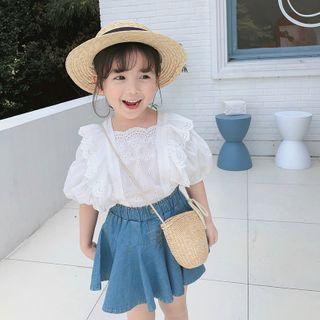 Cuckoo - Kids Set:  Lace Top + Denim Skirt