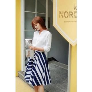 CHERRYKOKO - Striped Linen Blend A-Line Skirt