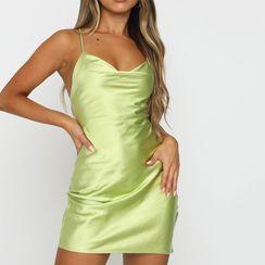 Sosana - Spaghetti Strap Plain Satin Mini Dress