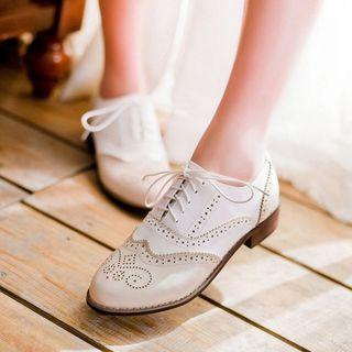 Aegina - 仿皮翼紋平底牛津鞋