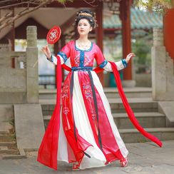 RIMIA - Pattern Embroidered Long-Sleeve Traditional Chinese Costume