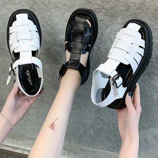 Youaisha - 仿皮厚底罗马凉鞋
