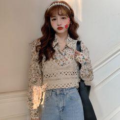 Duwnie - Long-Sleeve Floral Chiffon Shirt / Spaghetti Strap Knit Top