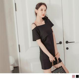 OrangeBear(オレンジベア) - Asymmetric Cutout Shoulder Knit Sheath Dress