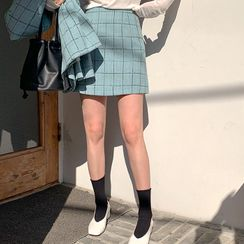 FROMBEGINNING - Checked A-Line Tweed Miniskirt